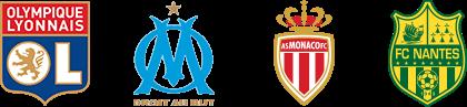 Olympique Lyonnais, OM, AS Monaco, FC Nantes